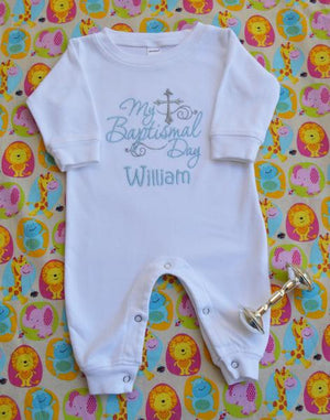 My Baptismal Day William baby boy romper with blue and gray cross and filigree details
