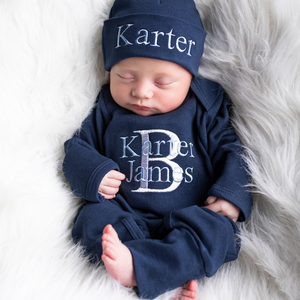 Navy Blue and Baby Blue Boys Hat & Romper Outfit