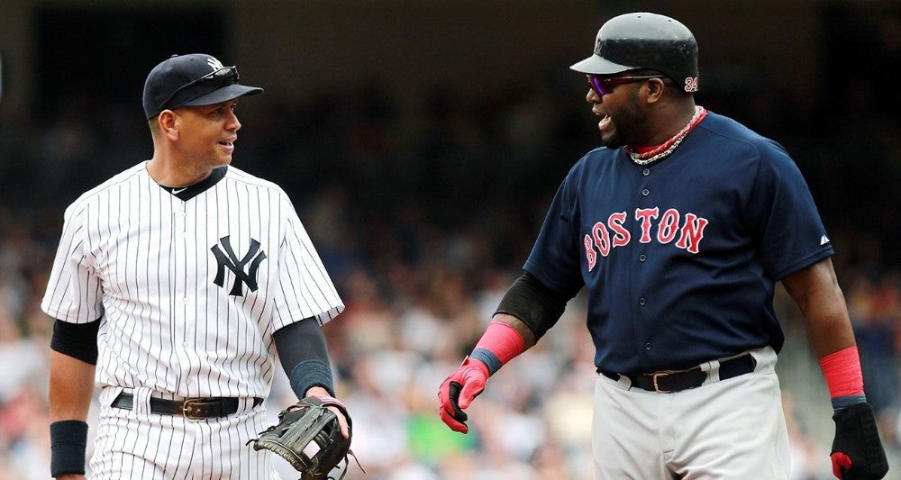 Watch David Ortiz spray champagne all over Alex Rodriguez in a Red Sox uniform