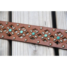 """Amaryllis"" Belt Leather, Studs, Turquoise or Czech Crystals"