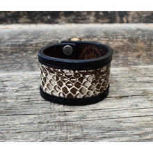 """New Paltz"" Leather & Snakeskin or Camouflage Leather Cuff"