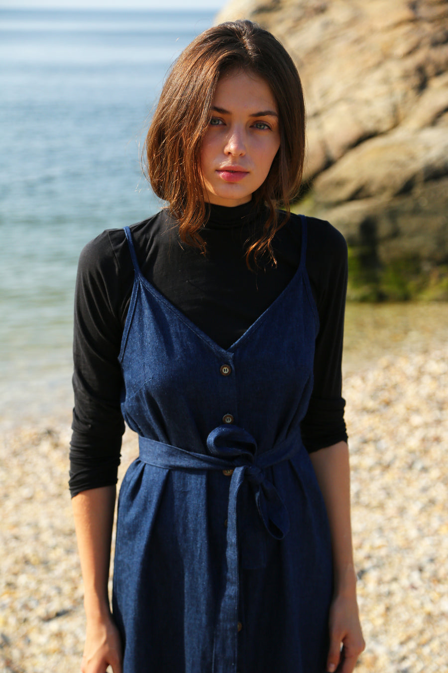 Lotus Dress in Hemp Denim