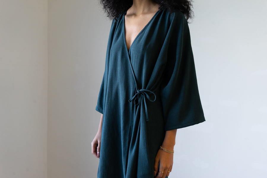 Ceres Kimono-Style Wrap Dress in Silky Noil (Short)