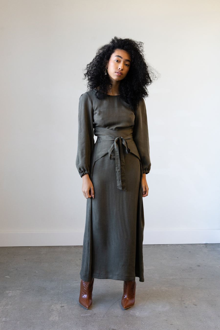 Longsleeved Eclipse Dress in Cupro