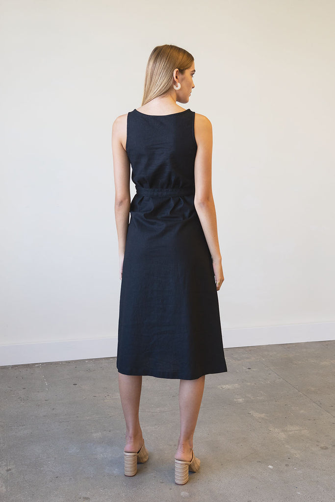 Eclipse Dress in Linen + Crepe