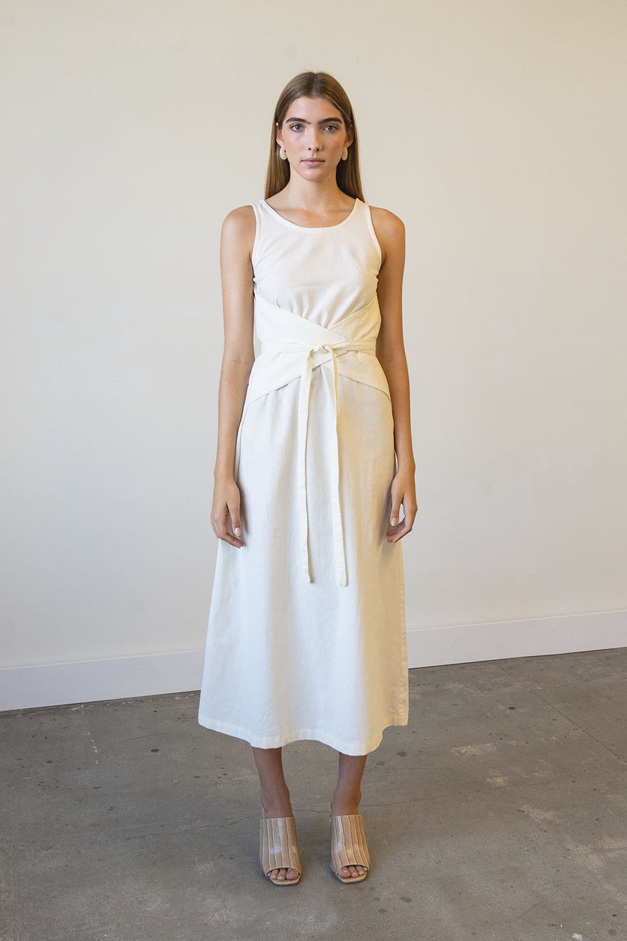 Eclipse Dress in Linen + Washed Crepe