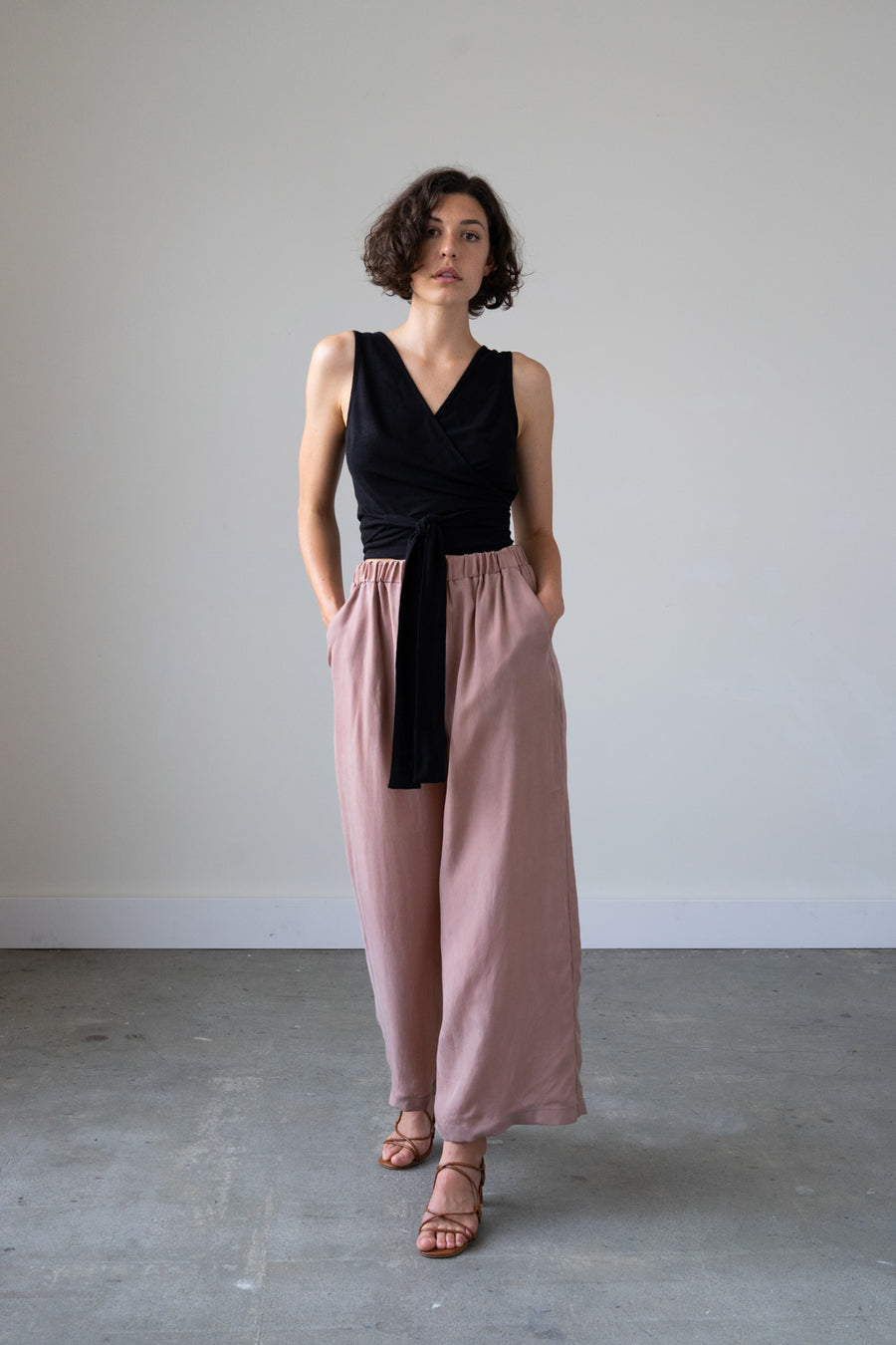 Leda Wrap Top in Silky Noil