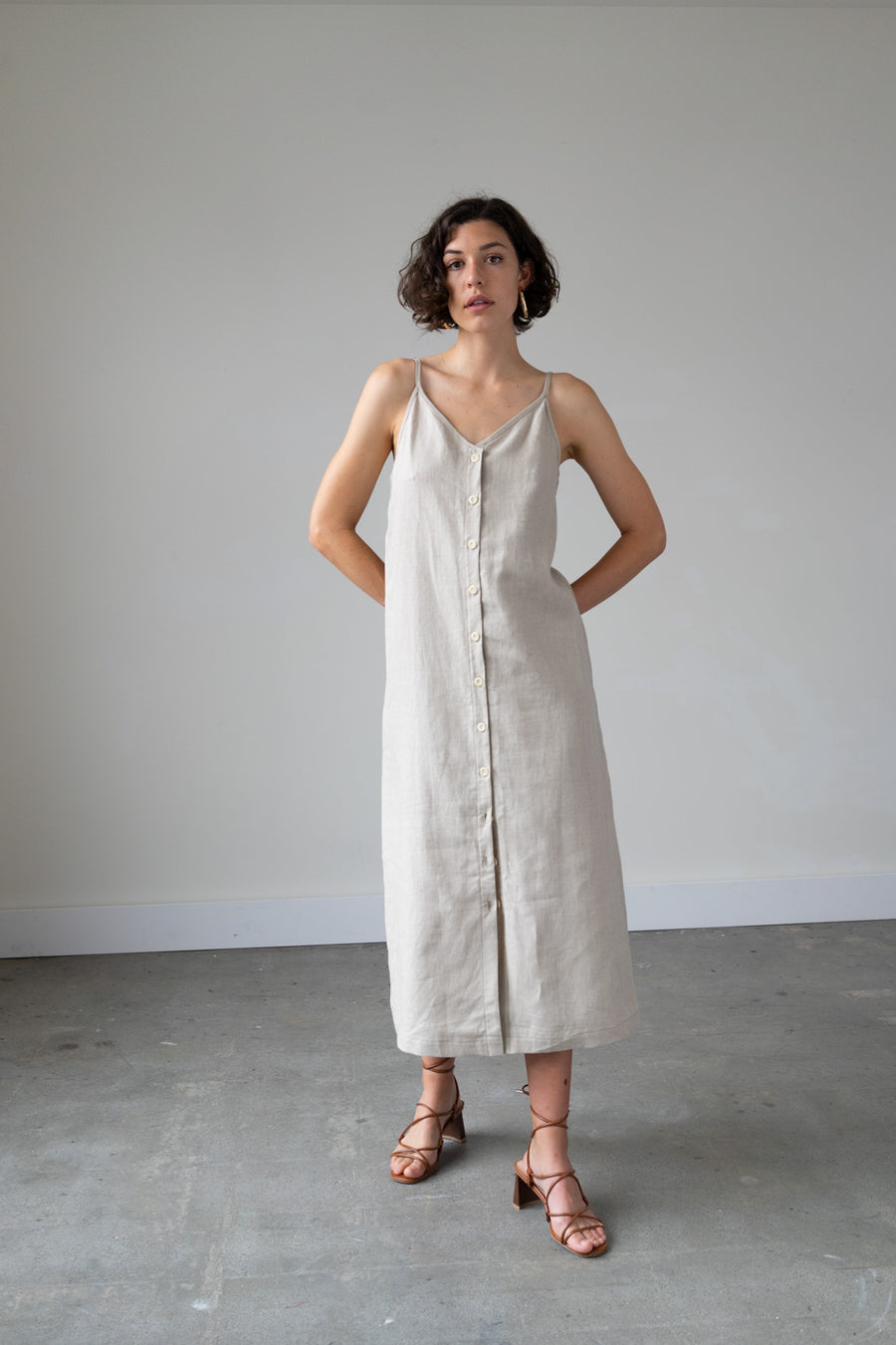 Lotus Button Down Dress in Linen