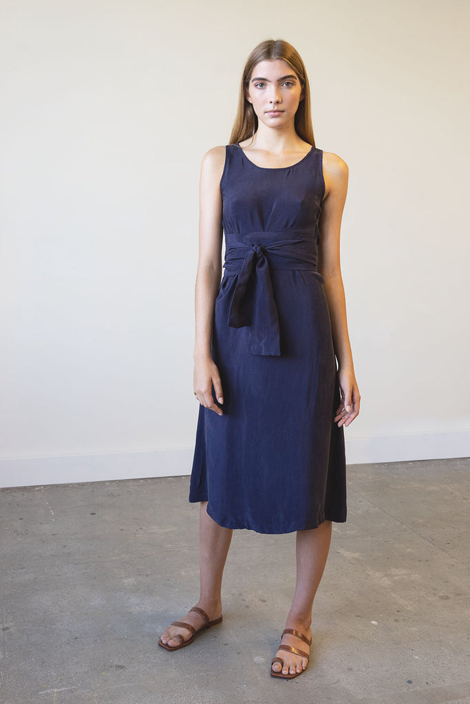 New Moon Wrap Dress in Cupro