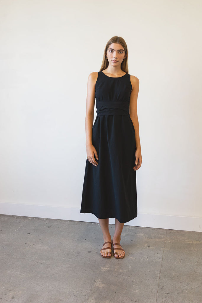New Moon Wrap Dress in Washed Crepe, Hemp + Linen