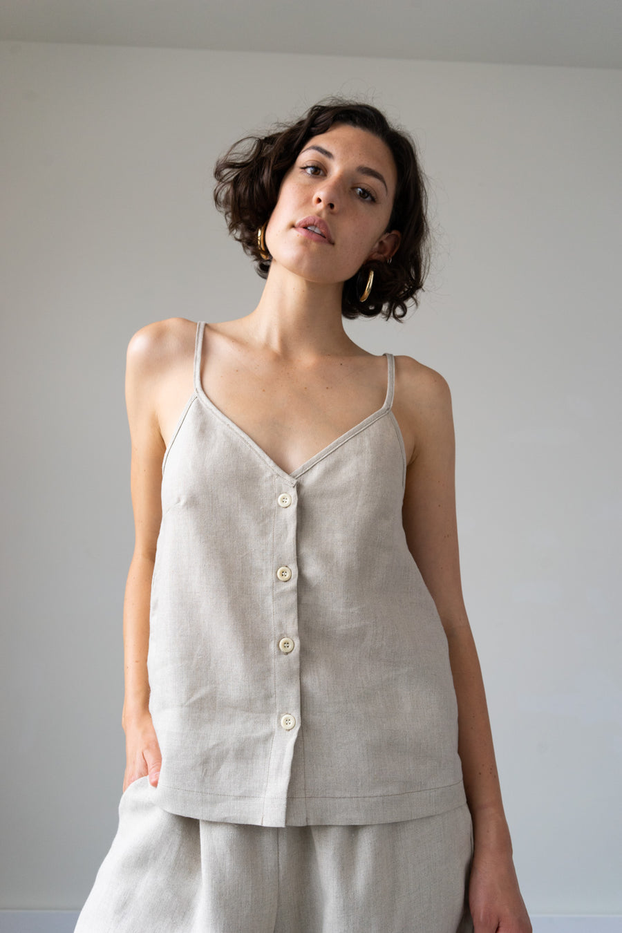 Lotus Button Down Crop Top in Linen, Crepe + Hemp
