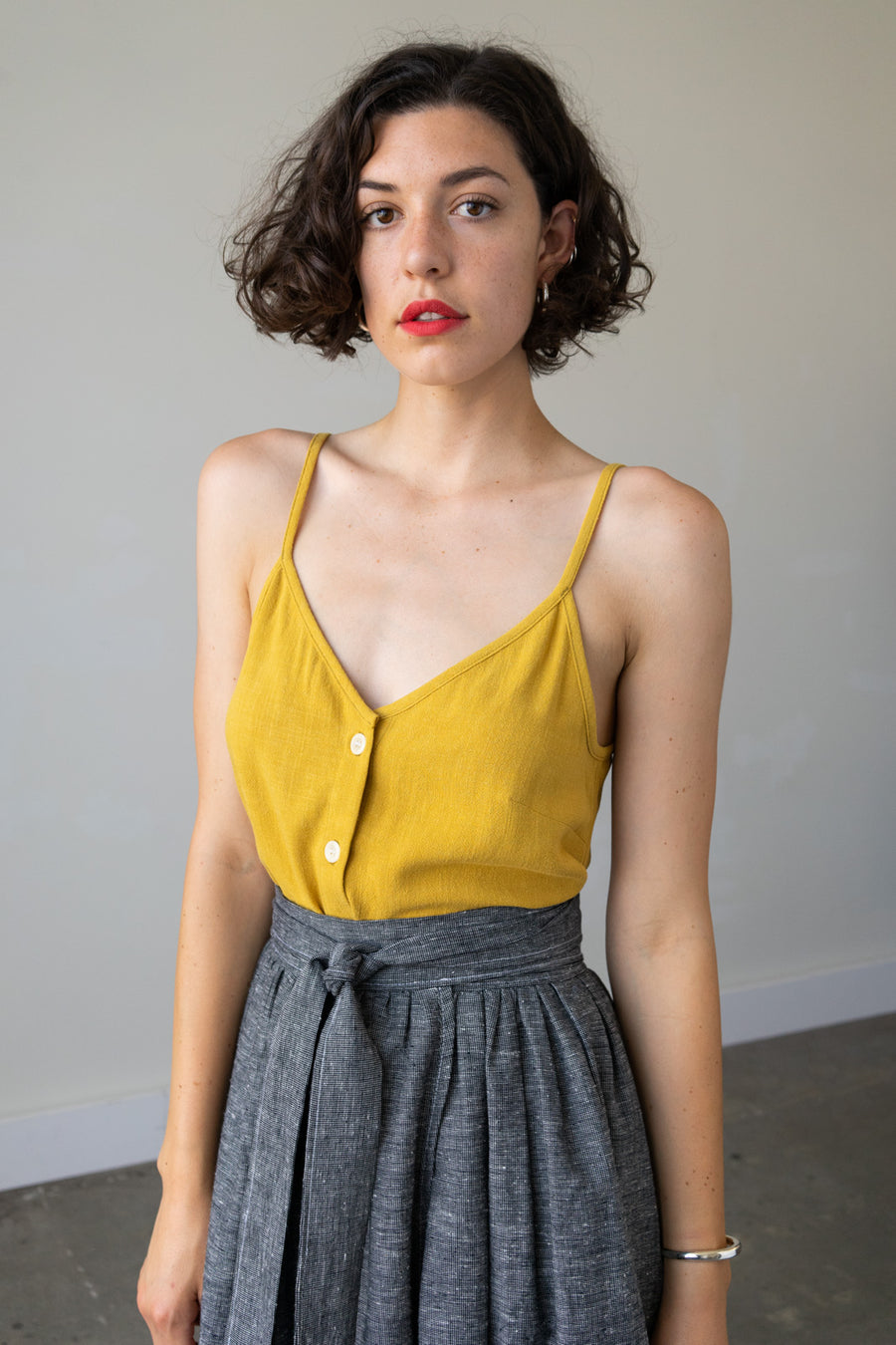Lotus Button Down Crop Top in Silky Noil