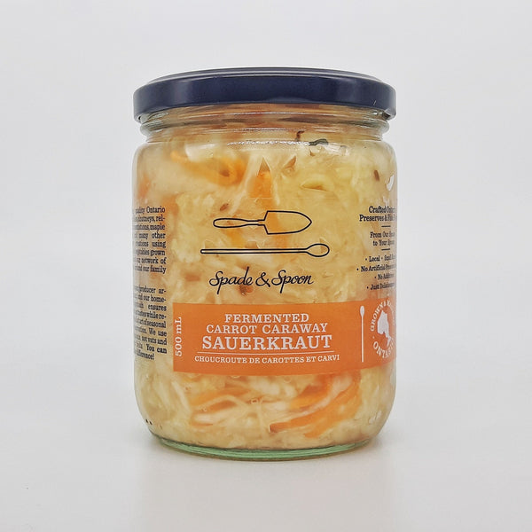 Jar of carrot caraway sauerkraut
