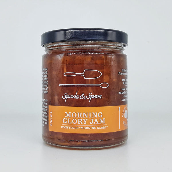 Jar of morning glory jam.