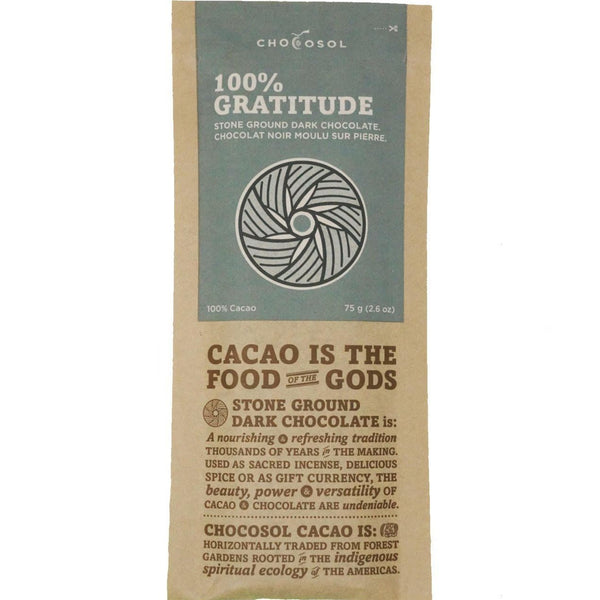 Package of 100% Gratitude Chocolate.