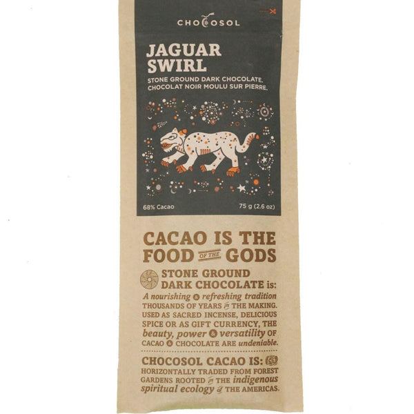 Bag of jaguar swirl chocolate.