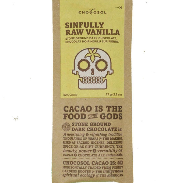 Bag of sinfully raw vanilla chocolate.