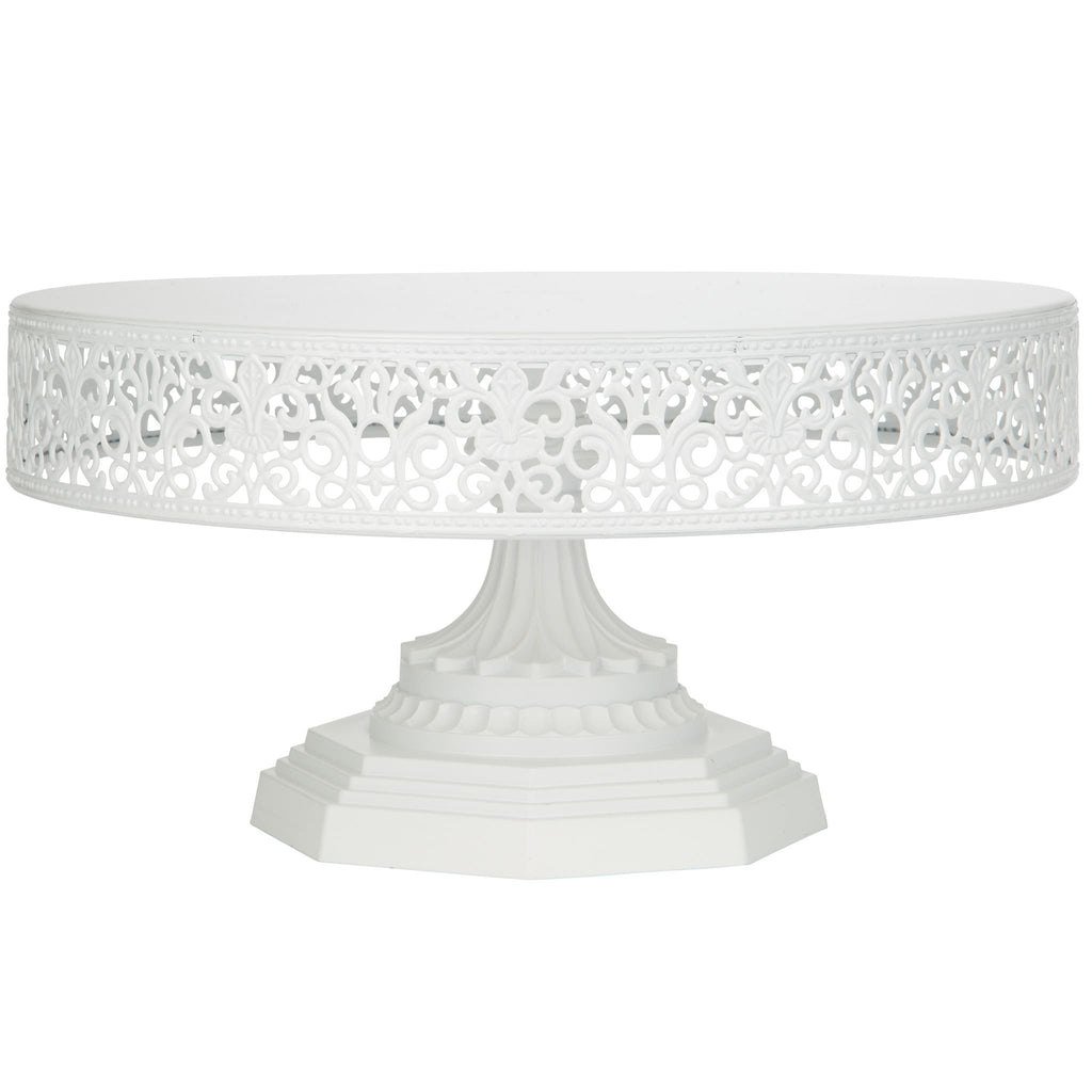 12 Inch White Metal Cake Stand Amalfi Decor