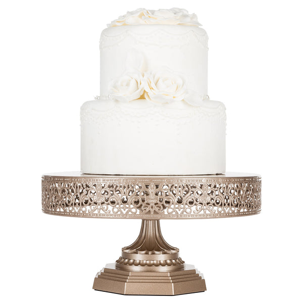 12 Inch Champagne Color Metal Cake Stand Amalfi Decor