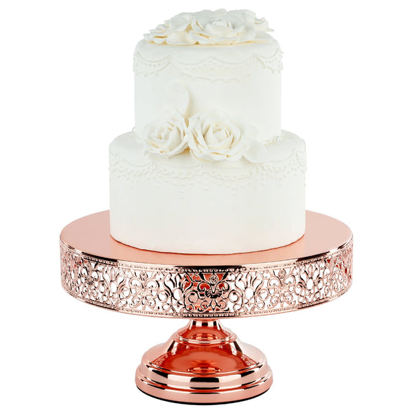 12 Inch Round Rose Gold Plated Metallic Wedding Cake Stand | Amalfi Decor