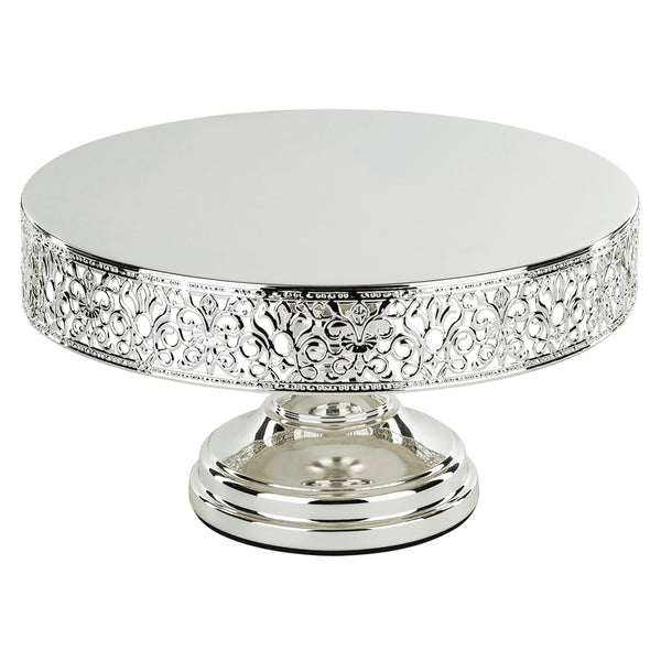 12 Inch Round Chrome Silver Plated Metallic Wedding Cake Stand | Amalfi Decor