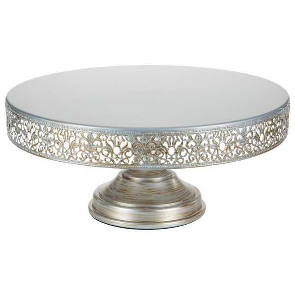 16 Inch Antique Silver Metal Wedding Cake Stand by Amalfi Decor