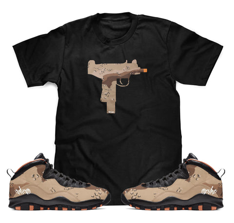 UZI Camo Tee To Match Air Jordan Retro 10 Rattan Desert Camo Sneakers