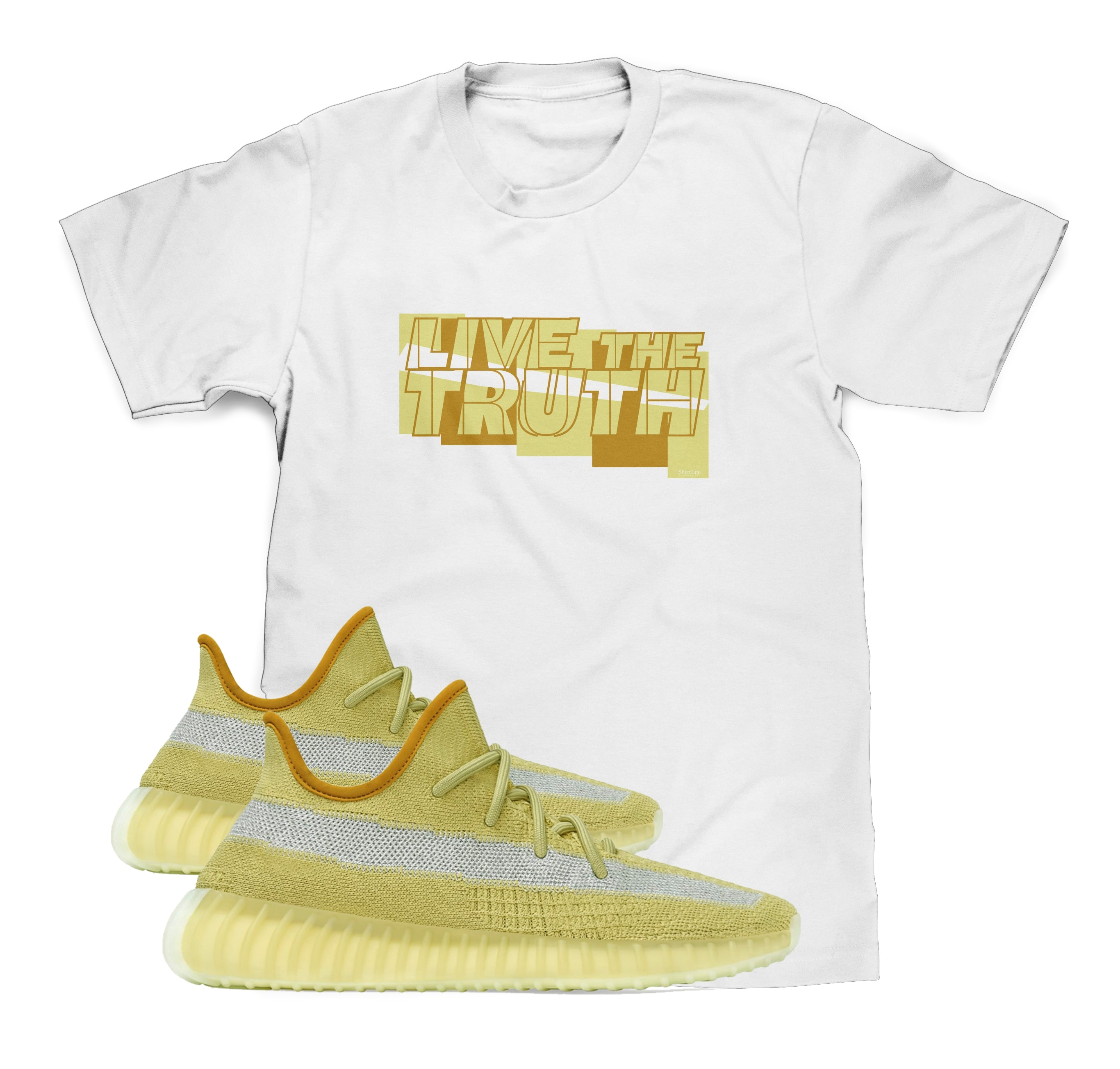Live The Truth Shirt Designed To Match Yeezy Boost 350 V2 Marsh Sneakers