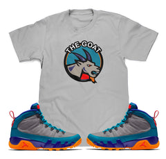 The Goat Tee (Designed to match Air Jordan 9 Boot Green Abyss Sneakers)