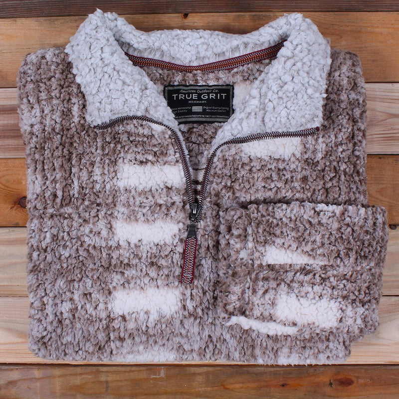 Frosty Tipped Big Plaid Pile Pullover - FINAL SALE - True Grit - The Sherpa Pullover Outlet