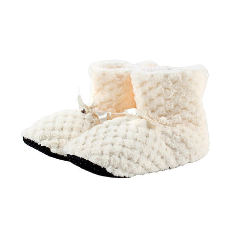 Pearl Bow Fleece Booties