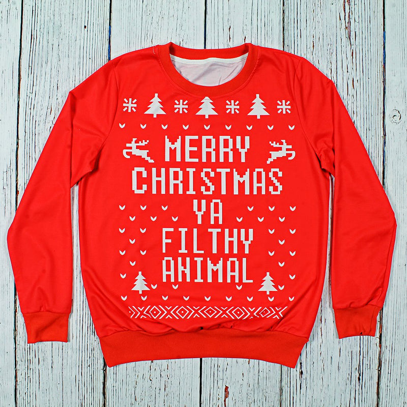 Merry Christmas Ya Filthy Animal Sweater - Preppy Elves - The Sherpa Pullover Outlet
