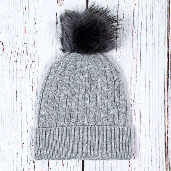 Baltic Cable Pom Pom Beanie - Nordic Fleece - The Sherpa Pullover Outlet