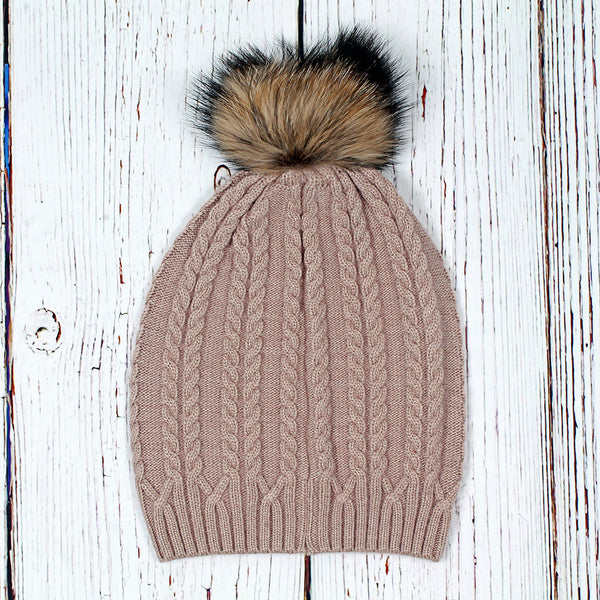 Atlantic Cable Pom Pom Beanie