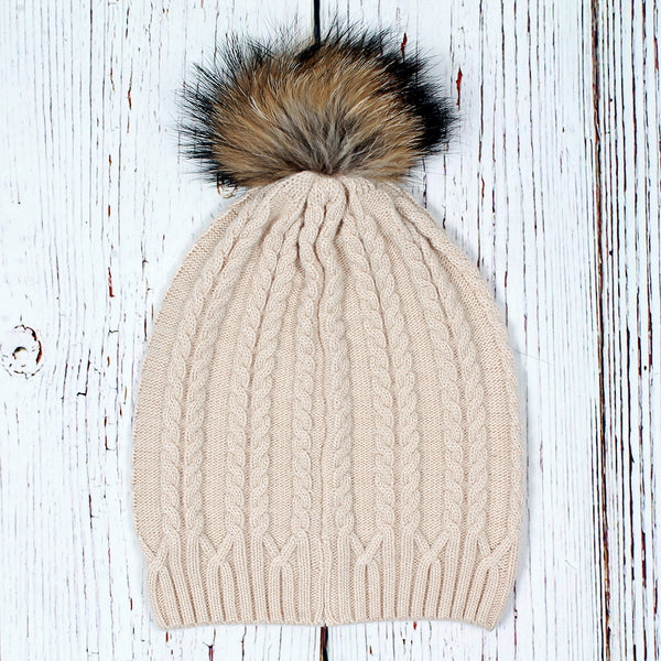 Atlantic Cable Pom Pom Beanie - Nordic Fleece - The Sherpa Pullover Outlet