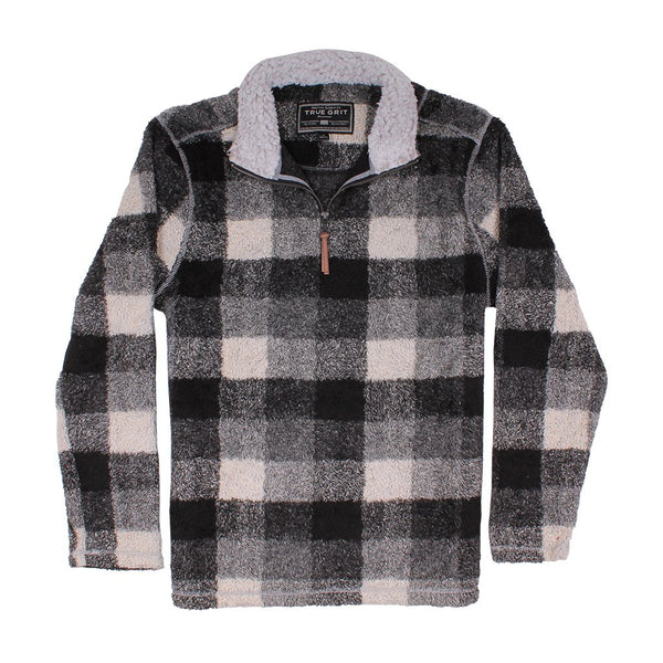 Melange Buffalo Plaid 1/4 Zip Pullover - True Grit - The Sherpa Pullover Outlet