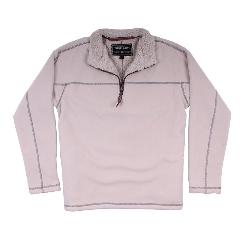 Bonded Polar Fleece & Sherpa Lined 1/4 Zip Pullover with Pockets - True Grit - The Sherpa Pullover Outlet