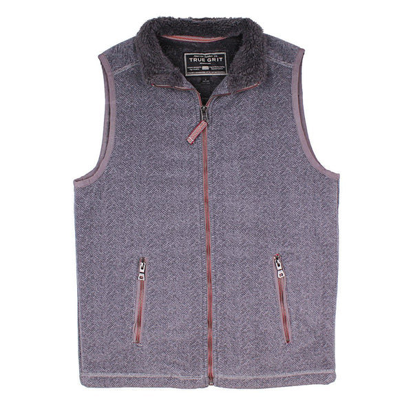 Herringbone Fleece Full Zip Vest - FINAL SALE - True Grit - The Sherpa Pullover Outlet