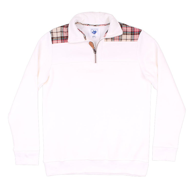 The Uppsala Pullover in White with Plaid by Nordic Fleece - Nordic Fleece - The Sherpa Pullover Outlet