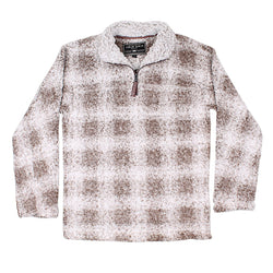 Softest Tip Box Plaid Shearling 1/4 Zip Pullover - FINAL SALE - True Grit - The Sherpa Pullover Outlet