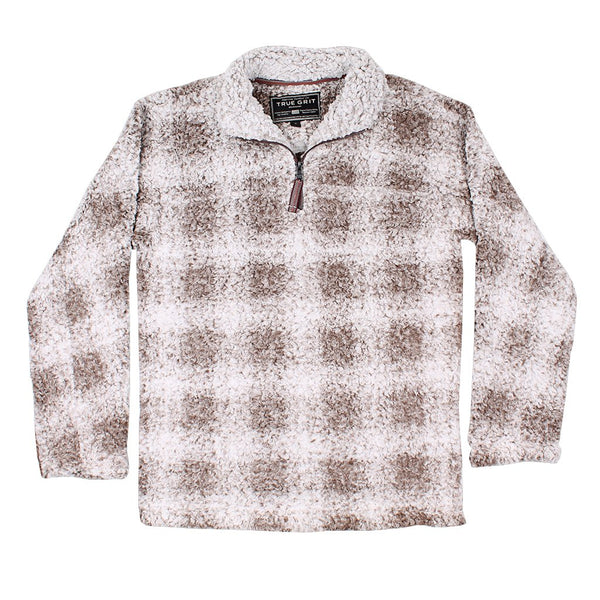 Softest Tip Box Plaid Shearling 1/4 Zip Pullover - True Grit - The Sherpa Pullover Outlet