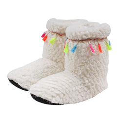 Tassel Sherpa Fleece Booties - Nordic Fleece - The Sherpa Pullover Outlet