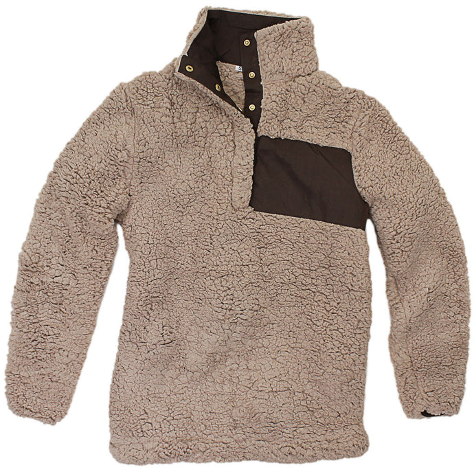 Snap Collar Sherpa Pullover in Light Brown by Everest Clothing  - 2