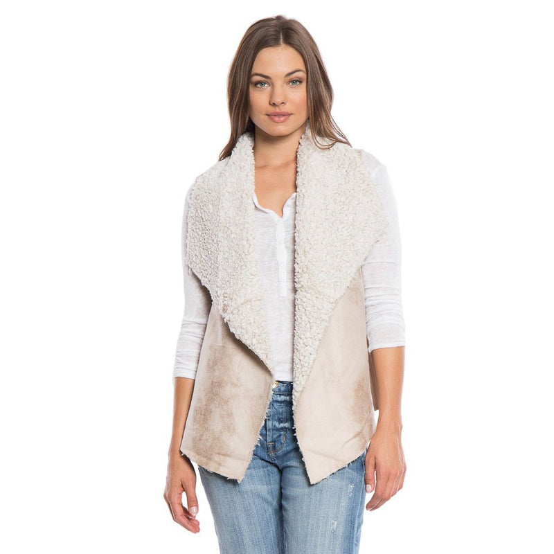 Frosty Tipped Shearling Snap Vest - The Sherpa Pullover Company