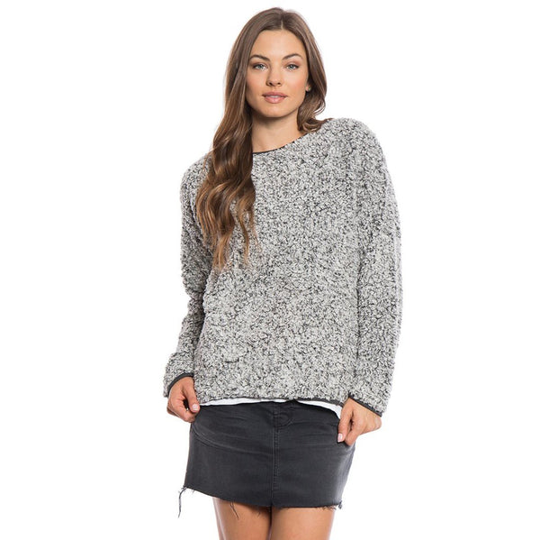 Solid Frosty Tipped Drop Shoulder Crew Sweater - True Grit - The Sherpa Pullover Outlet