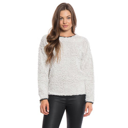 Solid Frosty Tipped Drop Shoulder Crew Sweater - Dylan - The Sherpa Pullover Outlet