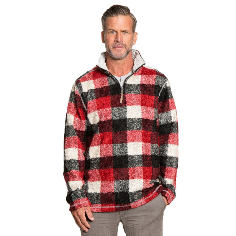 Melange Buffalo Plaid 1/4 Zip Pullover - FINAL SALE - True Grit - The Sherpa Pullover Outlet