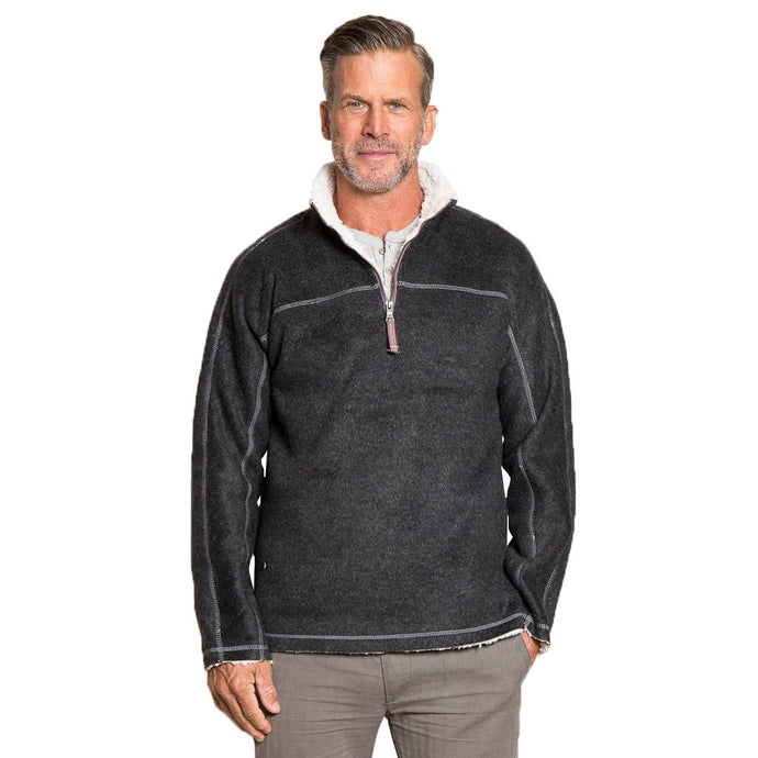 True Grit Melange & Sherpa 1/4 Zip Pullover in Black