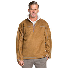 True Grit Melange & Sherpa 1/4 Zip Pullover in Saddle