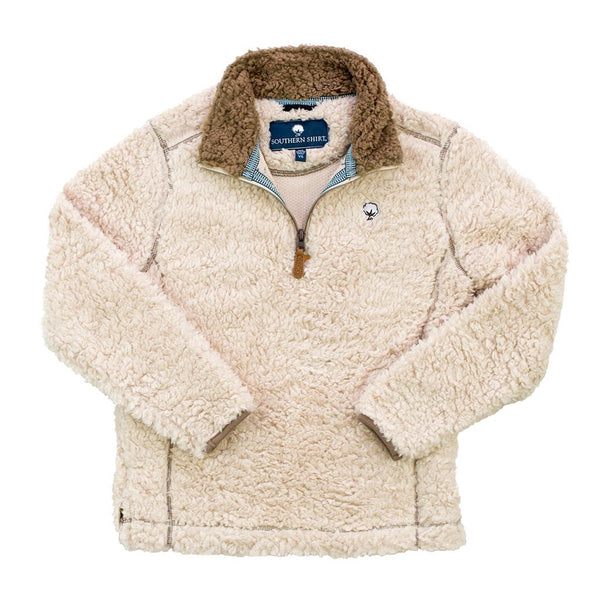 The Southern Shirt Co Youth Sherpa Pullover With Pockets In Oyster Gray The Sherpa Pullover